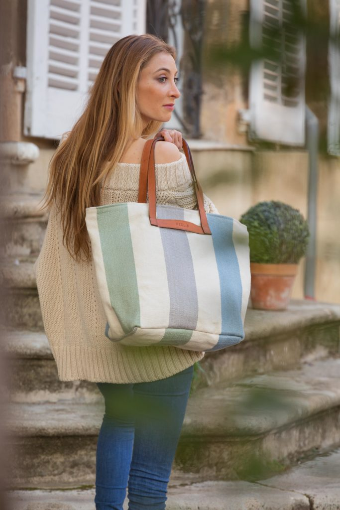 PERL-B photoshoot - striped bag - southern France